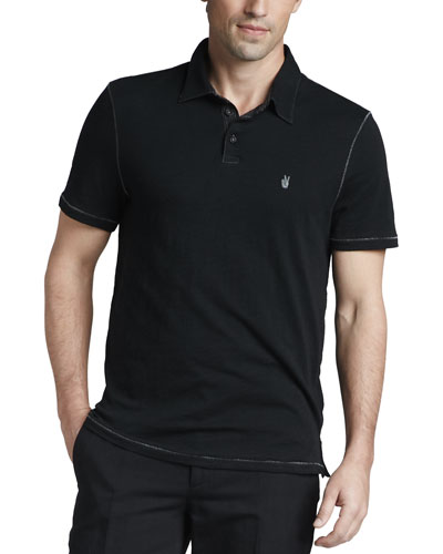 Pickstitched Slub Polo, Black