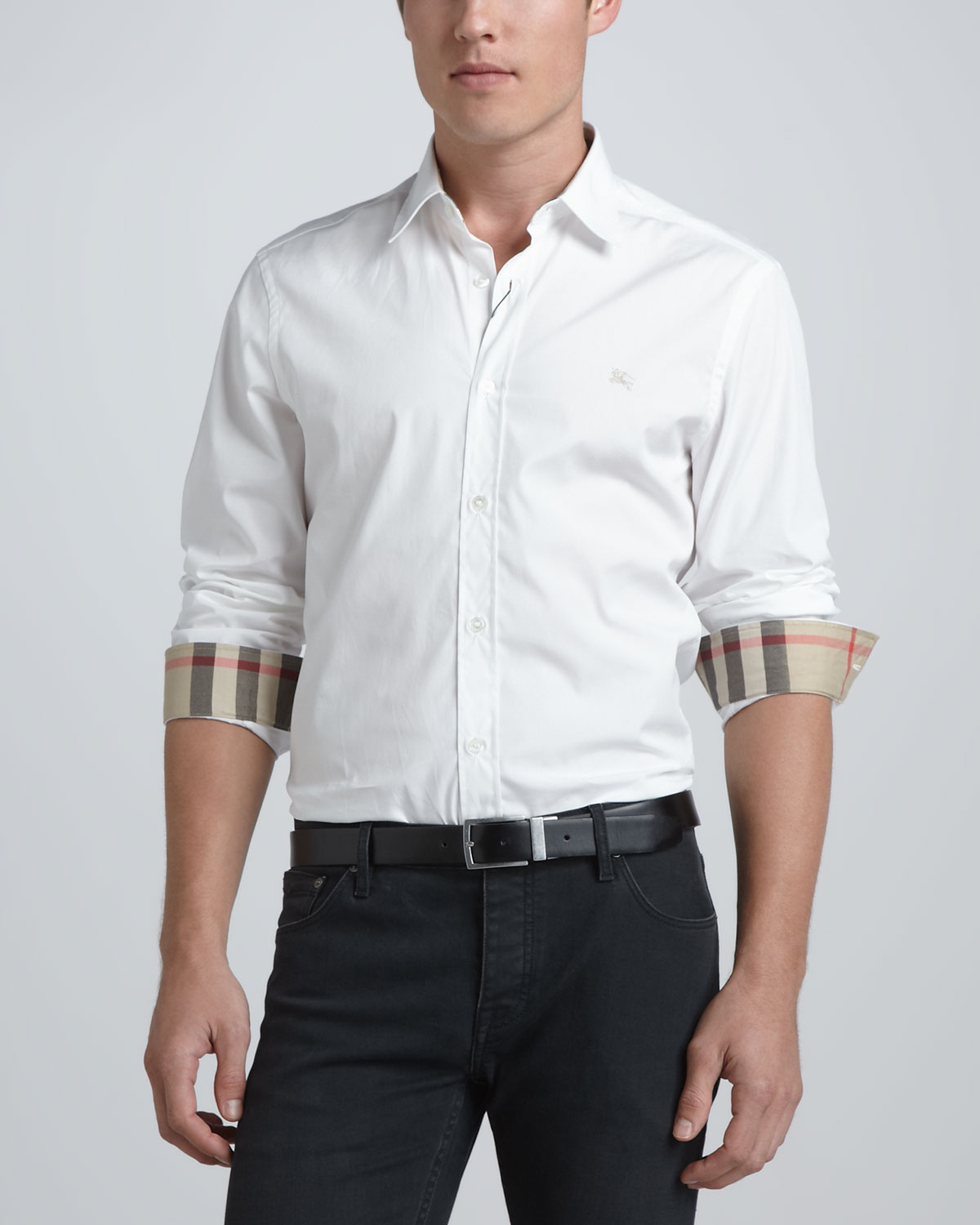 Henry Check-Detail Sport Shirt, White