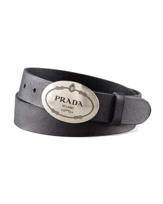 Printed-Buckle Saffiano Leather Belt, Black