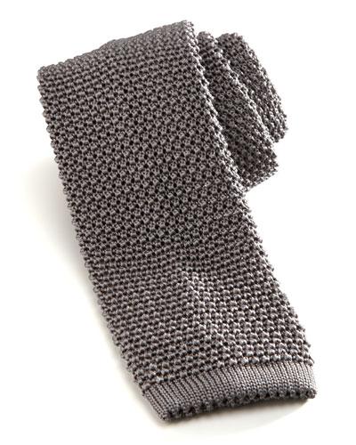 Knit Silk Tie, Gray