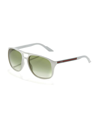 Web-Arm Enamel Aviator Sunglasses, White