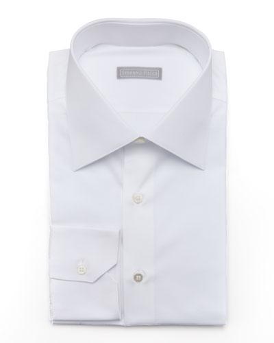 Basic Barrel-Cuff Dress Shirt, White