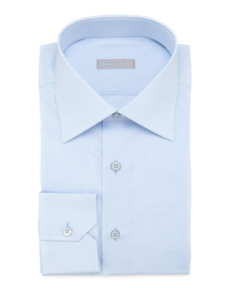 Basic Barrel-Cuff Dress Shirt, Blue