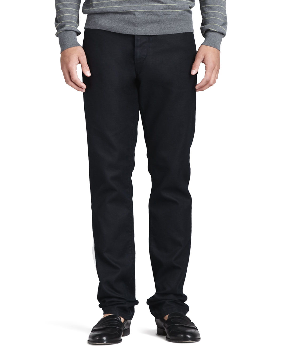 Slim Five-Pocket Pants, Black