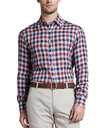 Plaid Linen Sport Shirt, Red/Blue