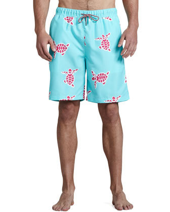 Tortoise-Print Swim Trunks