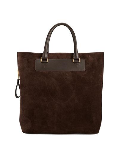 Suede Side-Zip Tote Bag