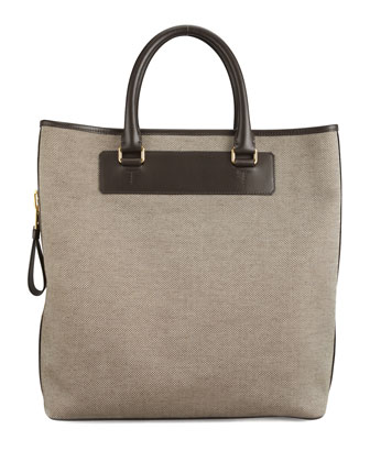 Canvas Side-Zip Tote Bag