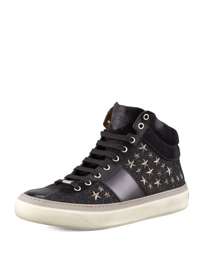 Star-Studded Hi-Top Sneaker, Black/Gunmetal