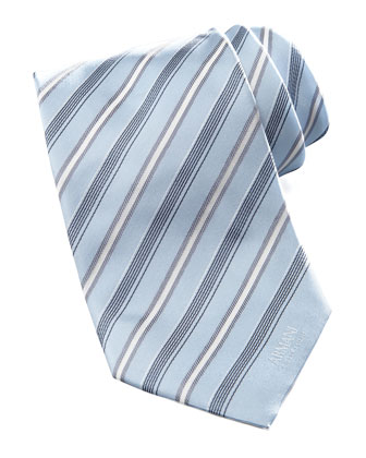 Striped Silk Tie, Light Blue