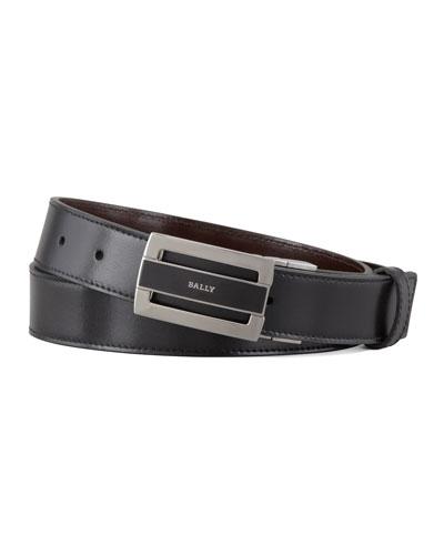 Fabazia Reversible Logo Belt, Brown