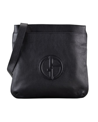 Men's Logo Messenger Bag, Black