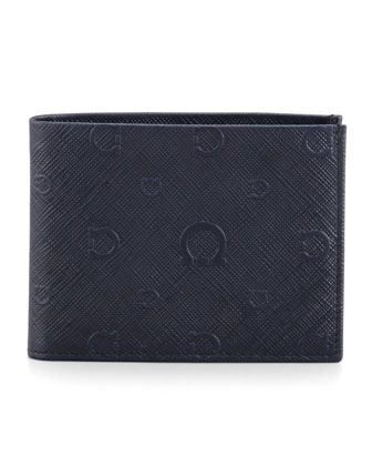 Apollo Gancini Leather Bi-Fold Wallet, Blue