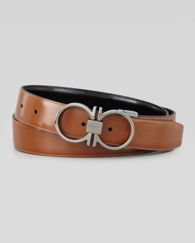 Reversible Gancini Leather Belt, Brown