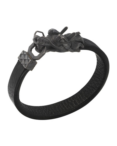 Naga Men's Dragon-Head Leather Bracelet, Black