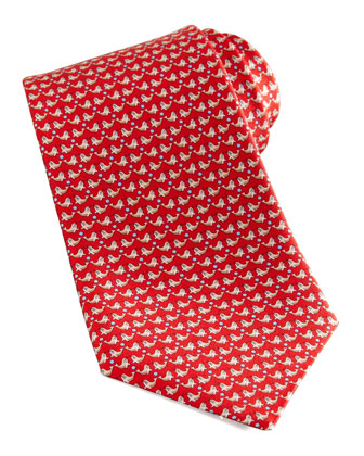 Seal-Print Silk Tie, Red