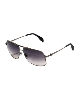 Men;s Skull Aviator Sunglasses, Dark Gray