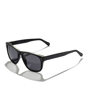 DBS Polarized Square Frame Sunglasses, Black