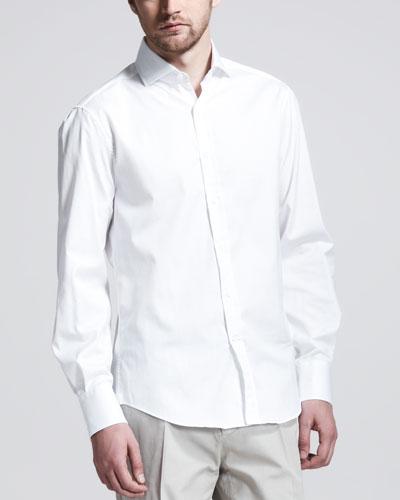 Button-Down Slim-Spread Collar Shirt, White