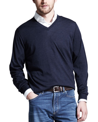 Fine-Gauge V-Neck Sweater, Plum