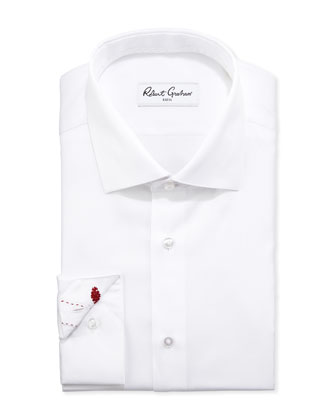 Lambert Herringbone Dress Shirt, White