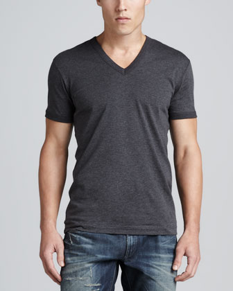 Heather Jersey V-Neck Tee, Gray