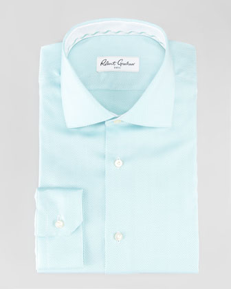 Lambert Herringbone Dress Shirt, Green