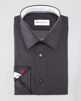 Clark Dotted Dress Shirt, Black/White
