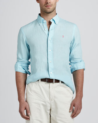 Linen Sport Shirt, Light Blue