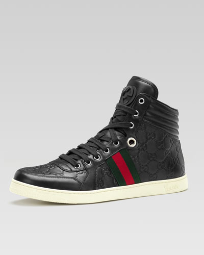 Coda Guccissima Leather High-Top Sneaker, Black