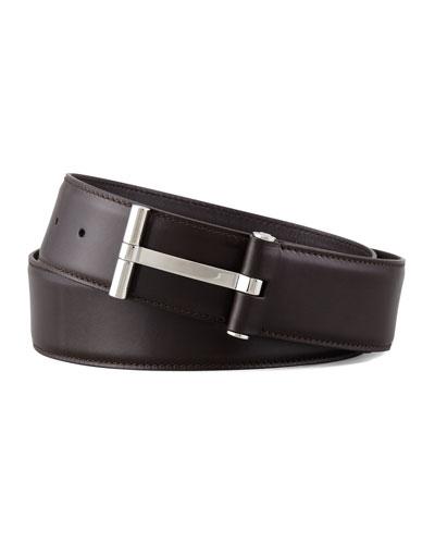 Men's Leather T-Buckle Belt, Brown