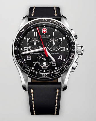 Classic Chronograph Leather Watch, Black