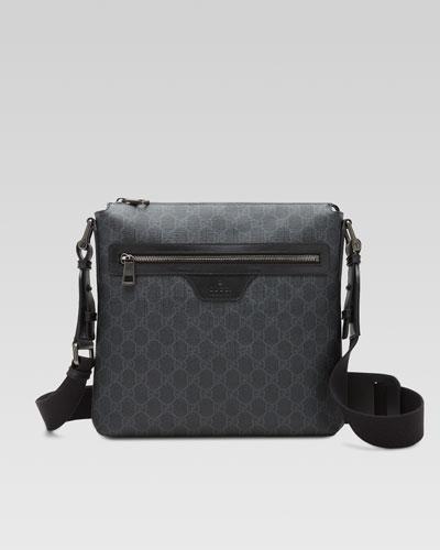 GG Supreme Small Canvas Messenger Bag, Black