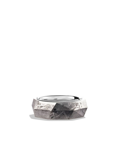 Band Ring with Meteorite