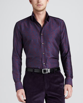 Paisley Sport Shirt, Purple