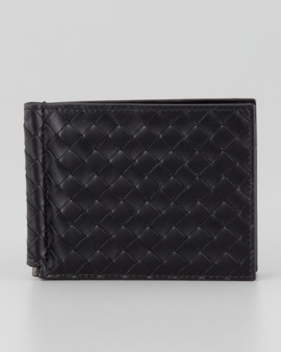 Basic Woven Bi-Fold Clip Wallet, Black