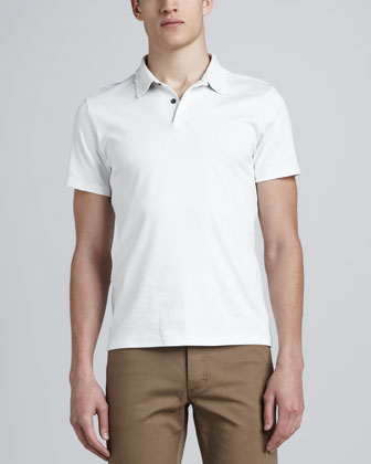 Short-Sleeve Jersey Polo, White