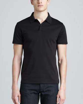 Short-Sleeve Jersey Polo, Black