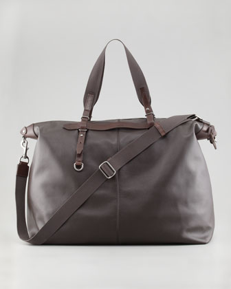 Zip-Top Soft Calfskin Briefcase, Brown