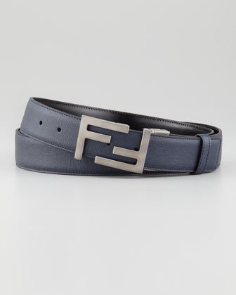 Reversible FF-Buckle Belt, Blue/Black