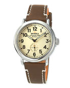 47mm Runwell Men's Watch, White/Brown
