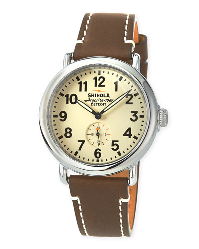 Men's 47mm Runwell Men's Watch, White/Brown