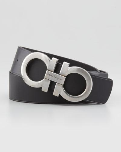 Large-Gancini-Buckle Belt, Black