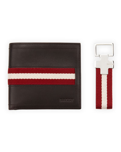 Wallet and Key Ring Gift Set, Chocolate