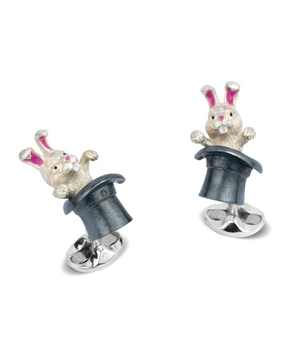 Rabbit in Hat Sterling Silver Cuff Links