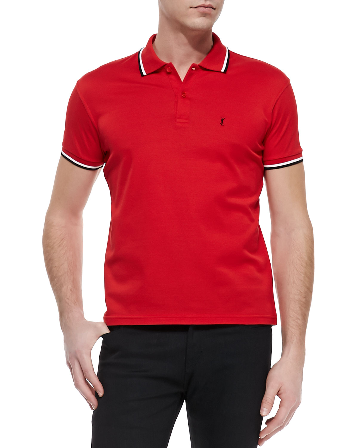 Tipped Pique Polo, Red