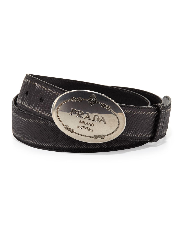 Saffiano Logo Buckle Belt, Black