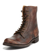 Rand Stonewash Lace-Up Boot, Cognac