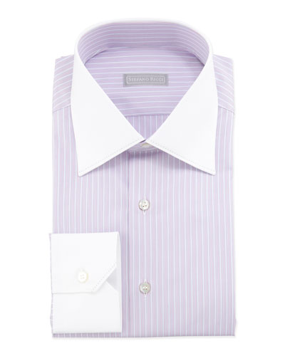 Multi-Striped Contrast-Collar Dress Shirt