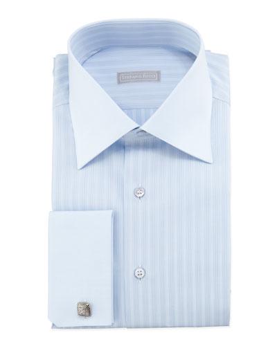 Tonal-Striped French-Cuff Dress Shirt